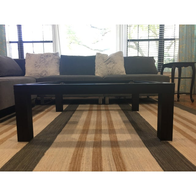 One of a kind contemporary European design square coffee table from Roche Bobois. Unique stainless steel cross wire under...