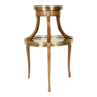 Louis XVI Two-Tier Marble Top Marquetry Side or End Table For Sale