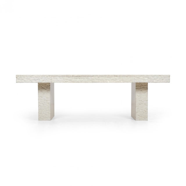 John Dickinson Unique Table/Partners Desk 1975 for Cyril Peletz Residence, San Francisco CA. Hand carved wood with plaster...