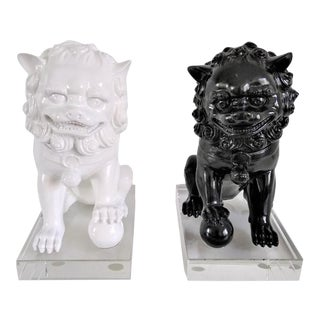 Ceramic Vintage Foo Dogs on Lucite Bases - Pair For Sale