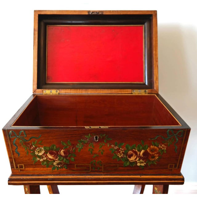 Early 19th Century 19th Century Regency Rosewood Workbox For Sale - Image 5 of 8