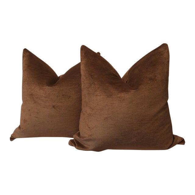 "22"" Chocolate Linen Velvet Pillows - A Pair - Image 1 of 5"