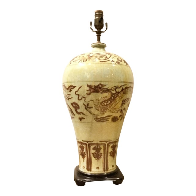 Asian Style Large Chinease Porcelain Sepia Glazed Dragon Table Lamp For Sale