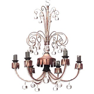 French 1940s Scroll Design Six-Arm Chandelier Attrib. To Baguès For Sale