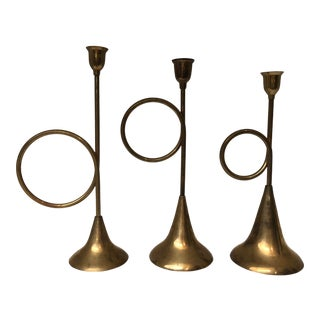 Solid Brass Trumpet Candleholders, 3 Set For Sale