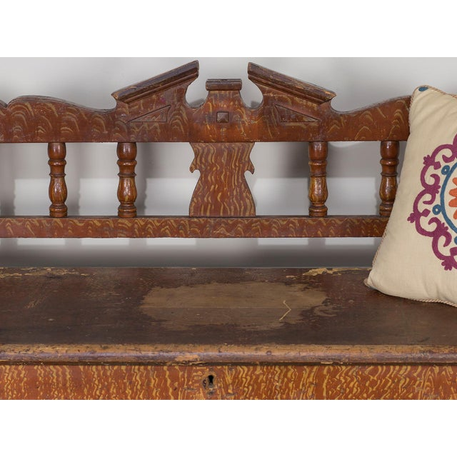 Hungarian Romanian Antique Painted Pine Bench circa 1875 For Sale - Image 10 of 11