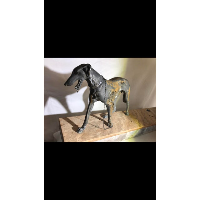 Art Deco Metalware Walking Hounds on Marble Base - Image 5 of 11