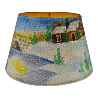 Vintage Folk Art Hand Painted Grass Cloth Lamp Shade - Artist Signed For Sale
