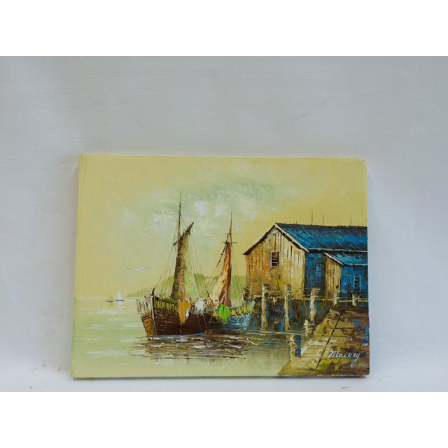 'Ship at the Dock' Mid-Century Oil Painting - Image 2 of 8