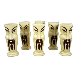 Vintage Orchids of Hawaii Tiki Man Glasses - Set of 6