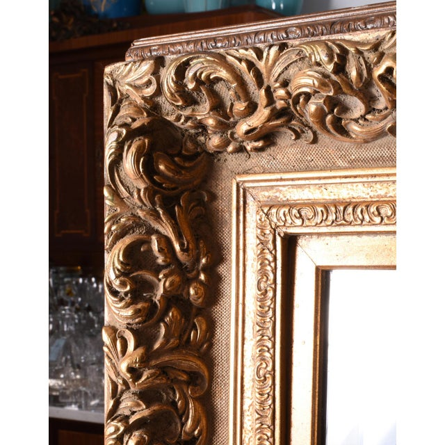 1920s 1920s French Vintage Large Beveled Giltwood Frame Wall Mirror For Sale - Image 5 of 7