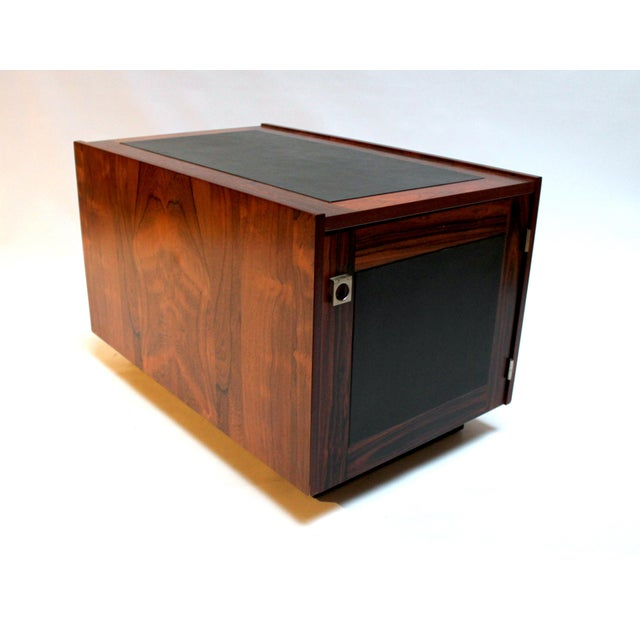 Black 1960s Bornholm Danish Rosewood & Leather Storage Side Tables- a Pair For Sale - Image 8 of 11