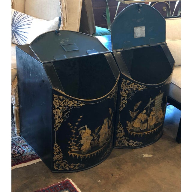 Chinoiserie Tole Tea Canisters - a Pair For Sale - Image 4 of 11
