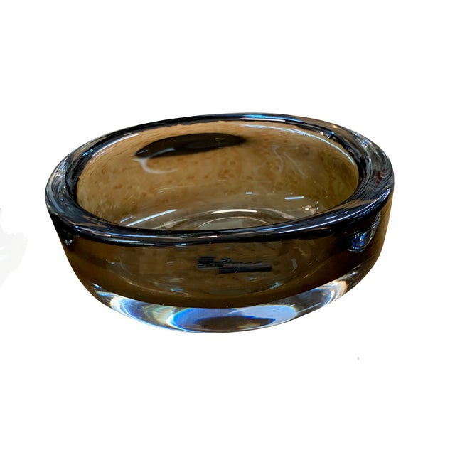 Orrefors Mid 20th Century Oval Orrefors Smoked Glass Signed Bowl For Sale - Image 4 of 4