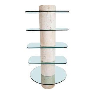 Travertine Etagere With Five Glass Shelves For Sale