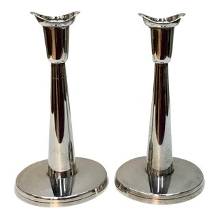 Midcentury Swedish K&es Sterling Silver Candleholders . - a Pair For Sale
