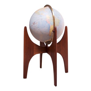 Vintage Adrian Pearsall for Craft Associates Illuminated Globe on Walnut Stand For Sale
