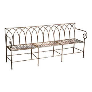 Polished Iron French Empire Style Three-Seat Bench For Sale