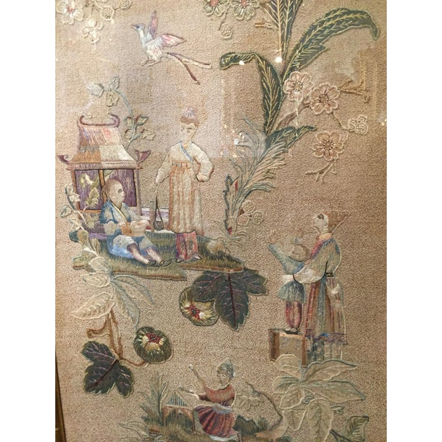 Silk Set of 3 English Silk Embroideries in Gilt Frame For Sale - Image 7 of 9
