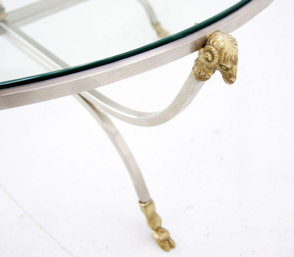 Jensen Style Steel And Brass Hoof And Ramu0027s Head Coffee Table   Image 3 Of  10