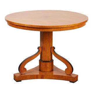 20th Century Swedish Cherry & Ebonized Biedermeier Pedestal Table For Sale