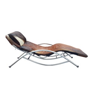 Modernist Cowhide Chaise Lounge