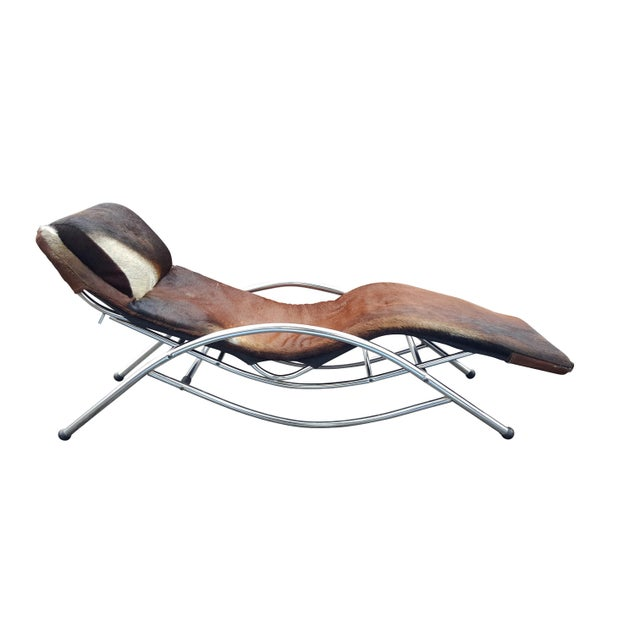 Modernist Cowhide Chaise Lounge - Image 1 of 7