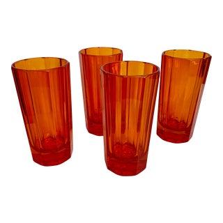 S. Marcen Orange Faceted Glasses - Set of 4 For Sale