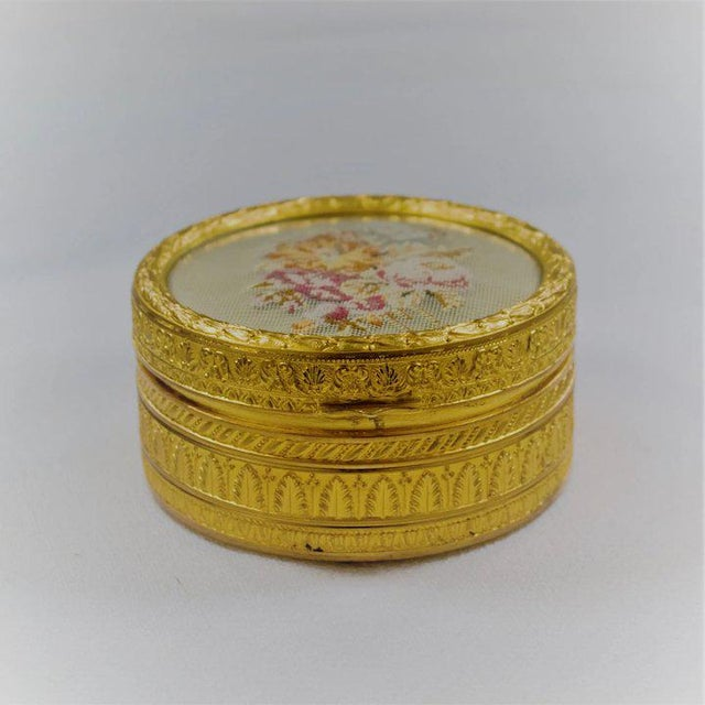 Traditional Gilt Petit Point Box For Sale - Image 3 of 7