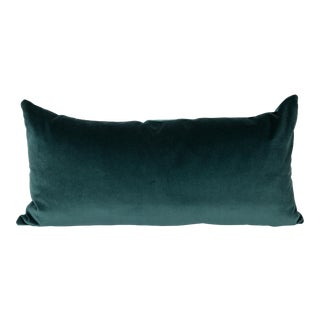 Teal Velvet Large Lumbar Pillow For Sale