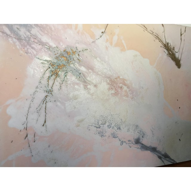 """Jacqueline Angove """"Peach Rose"""" Mixed Media Painting - Image 12 of 13"""