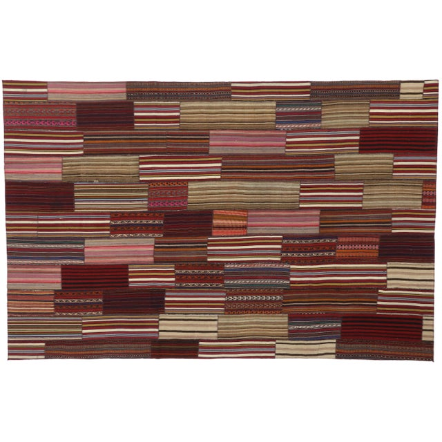 Late 20th Century Modern Vintage Turkish Jajim Kilim Flat-Weave Rug With Colorful Stripes - 7′5″ × 11′5″ For Sale - Image 5 of 5