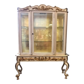 Gustavian 2 Pc Cream and Gold Display China Cabinet For Sale
