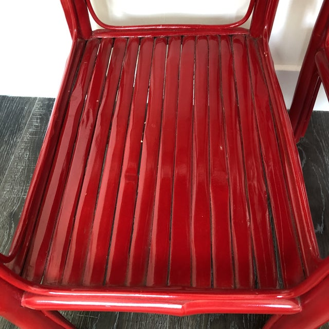 Red Serena and Lily Red Lacquered Side Tables - a Pair For Sale - Image 8 of 9