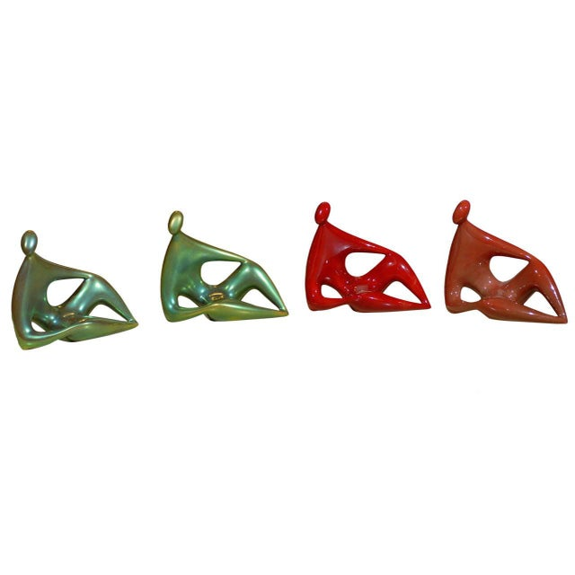 Zsolnay Ceramic Red and Green Figures - Set of 4 For Sale - Image 11 of 11