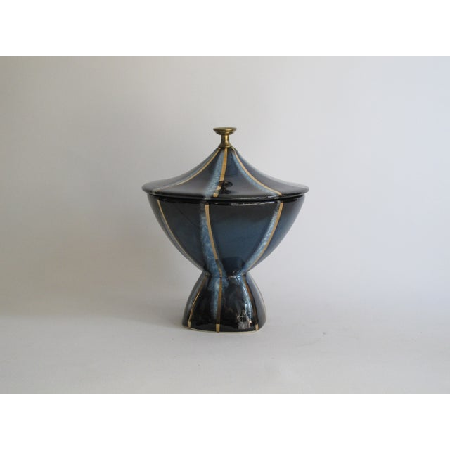 Navy & Gold Lidded Candy Dish - Image 3 of 5