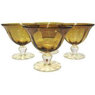 Amber Gold Pedestal Bowls - Set of 4 For Sale