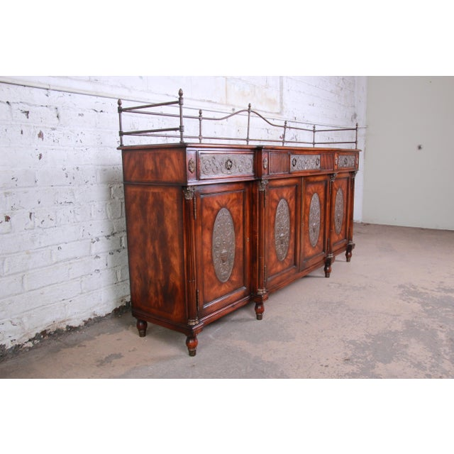 French Theodore Alexander Regency Style Flame Mahogany Sideboard or Bar Cabinet For Sale - Image 3 of 13