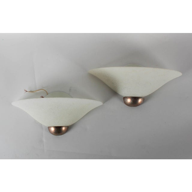 A Pair of Textured Glass Wall Sconces - Image 3 of 6
