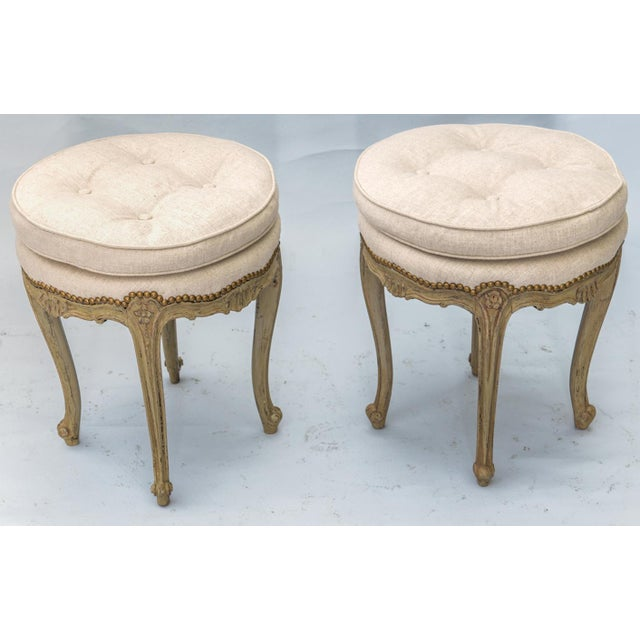 Early 20th Century Pair of Louis XV Style Painted Stools For Sale - Image 5 of 10