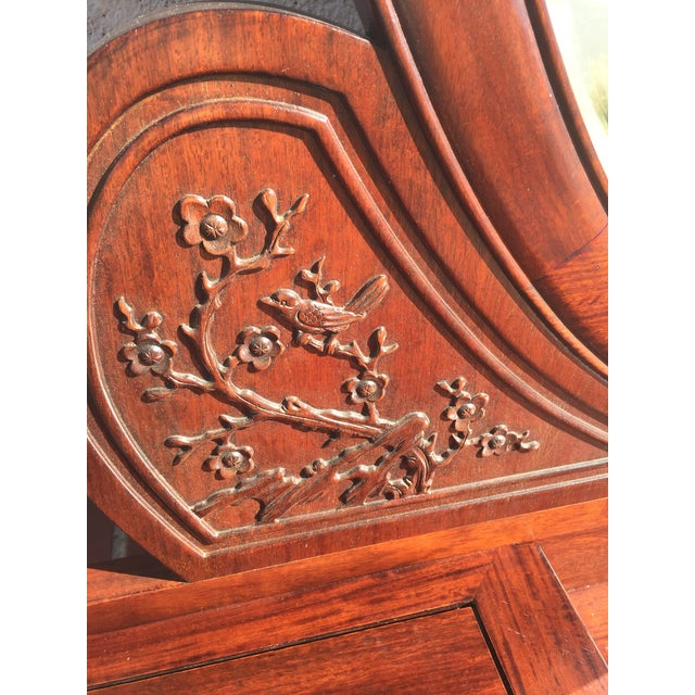 Asian Carved Chinese Rosewood Vanity Dresser with Mirror For Sale - Image 3 of 11