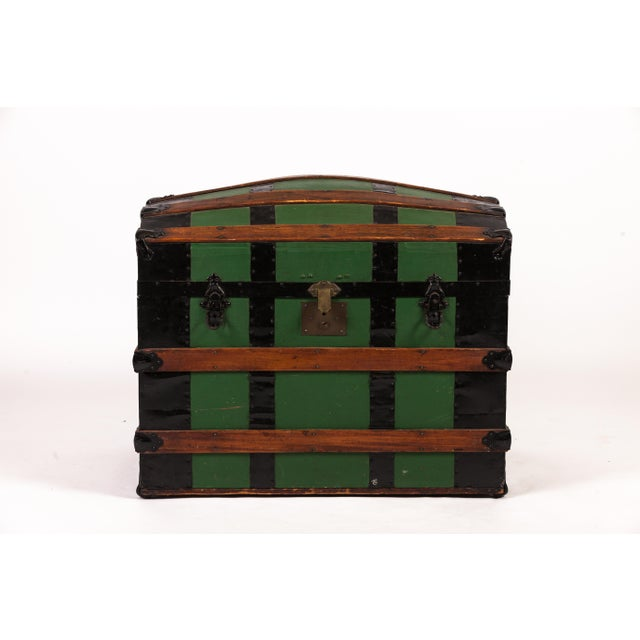 Antique Green Dome Carriage Trunk For Sale - Image 13 of 13