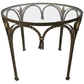 Italian Rope and Tasselled Side Table For Sale