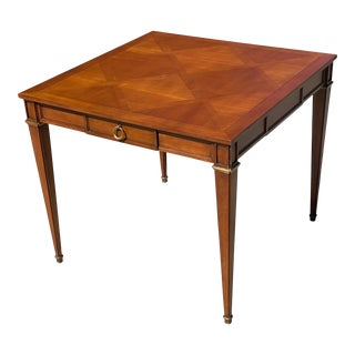 Baker Furniture Game or Entry Table With Brass Drawer Pulls For Sale