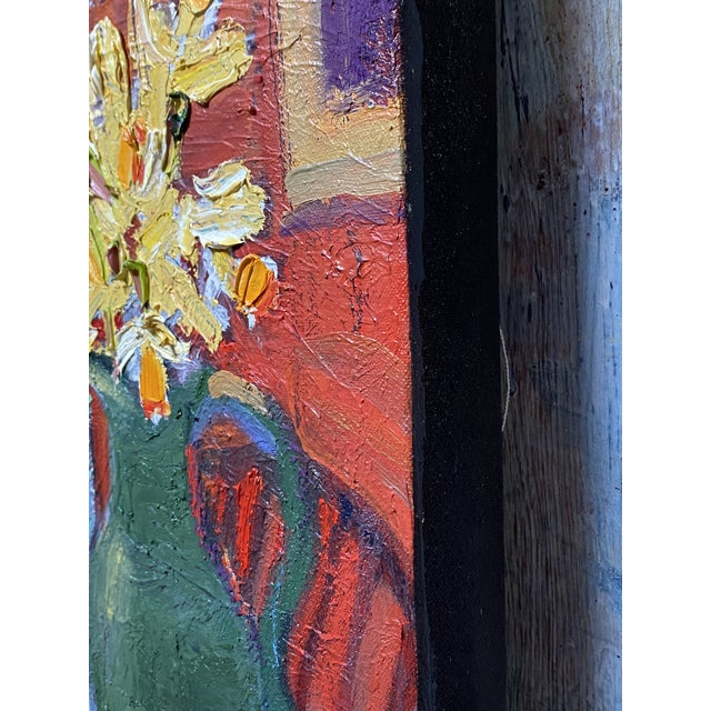 """Impressionist """"Still Life With Flowers"""" Contemporary Tabletop Still Life Oil Painting by James Hartman For Sale - Image 3 of 4"""