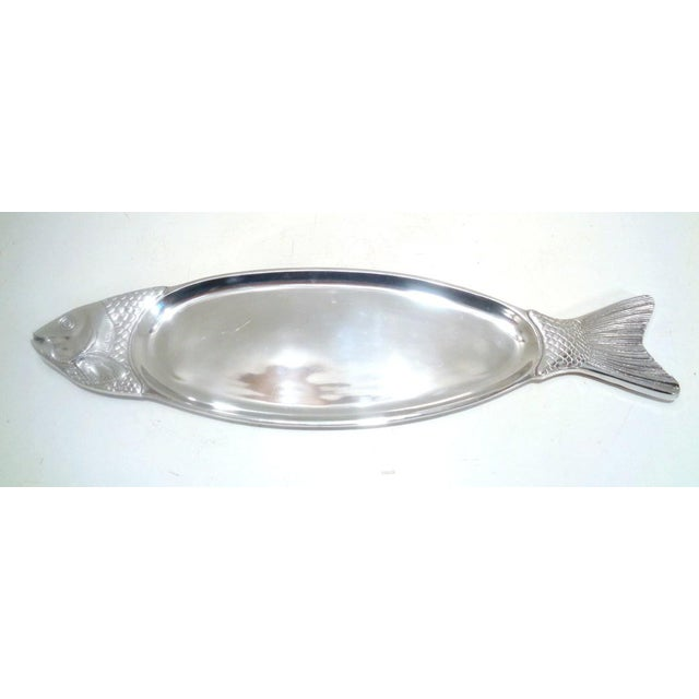 Large contemporary pewter fish platter/appetizer tray in the style of Arthur Court. Buffs to a high sheen. Condition: Good...