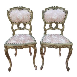 Late 19th Century Giltwood Louis XV Style Parlor Chairs - a Pair For Sale