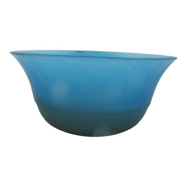 Mid 20th Century Venezia Italian Murano Art Glass Bright Blue Bowl by VeArt For Sale