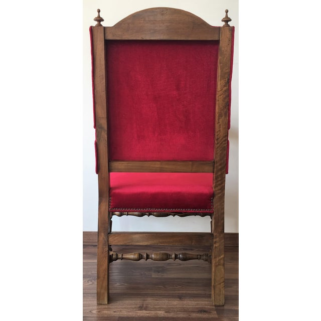 19th Century Louis XIII Style Fauteuils Throne Armchair in Red Velvet For Sale - Image 4 of 6