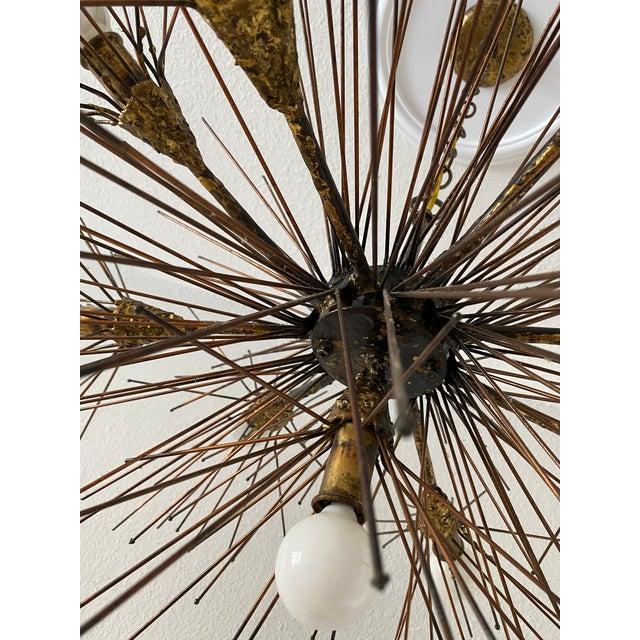 Mid-Century Modern Brutalist Brass Urchin Chandelier by Feldman For Sale - Image 3 of 4